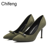 Woman Shoes 2017 Summer Heels Shoes Women Fashion Green Ladies Shoe Pumps Womens Pointed Sexy High