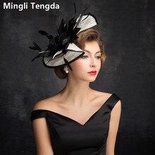 Mingli Tengda, черная Свадебная шляпа с перьями, дикая свадебная диадема, льняная Свадебная шляпа, Элегантная Дамская Шапка цвета слоновой кости, Свадебные шляпы