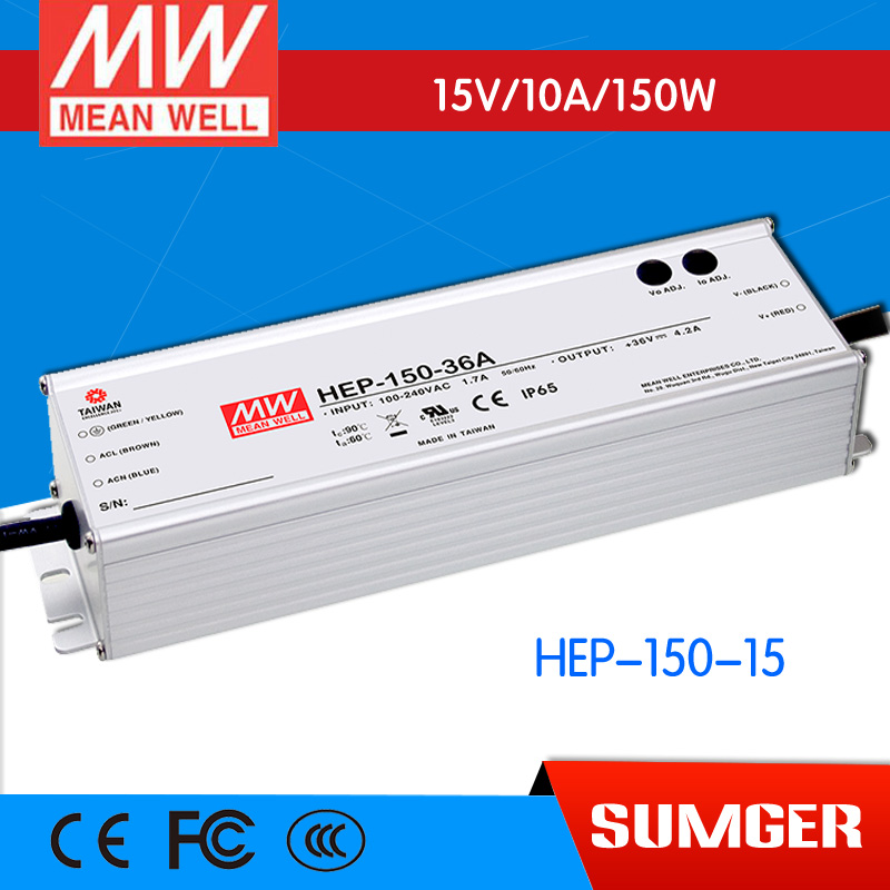 1MEAN WELL original HEP-150-15 15V 10A meanwell HEP-150 15V 150W Single Output Switching Power Supply [freeshipping 1pcs] mean well original rs 25 15 15v 1 7a meanwell rs 25 25 5w single output switching power supply