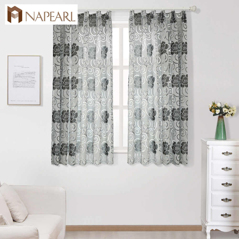 NAPEARL Short jacquard floral design semi-blackout curtains treatments modern curtains for kitchen living room window ready made
