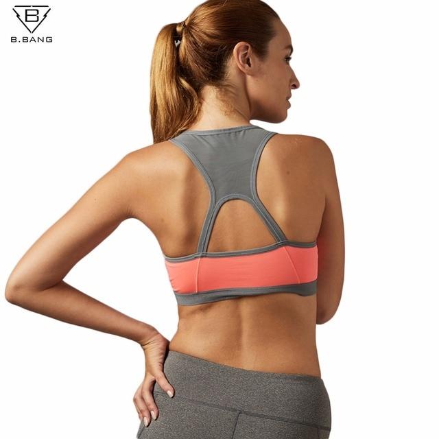 f423f65b6890c B.BANG Women Padded Yoga Shirt Sports Bra Push Up Dry Fit Tank Tops For Running  Fitness Gym Bras Plus Size