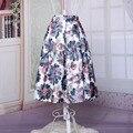 Pluma del pavo real impresión del patrón de la falda del tutú retro de cintura alta faldas midi falda barato de la fábrica China directamente nuevo 2015