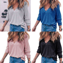 2017 New Fashion Women's Pullover Sweater Lady V-neck Women's Ladies Summer Loose Chiffon Tops Long Sleeve Shirt Casual Blouse