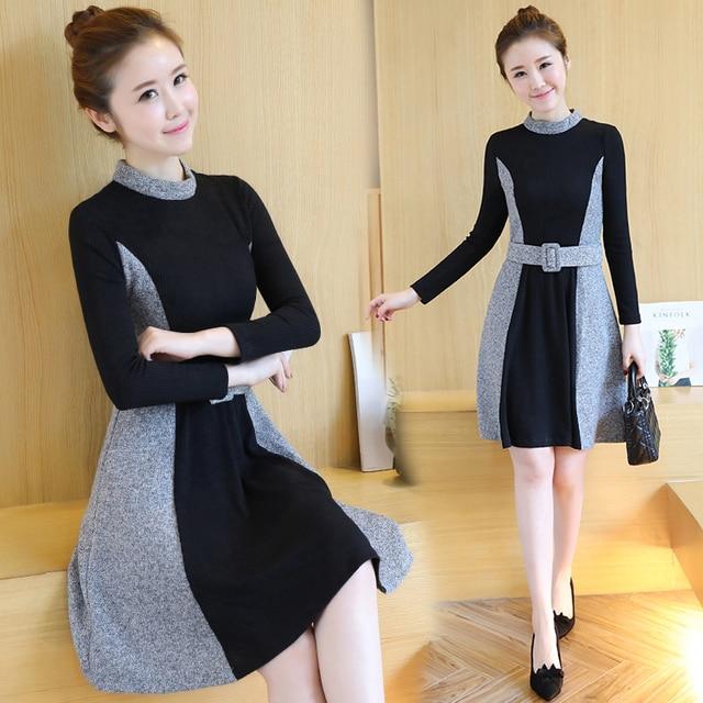 Korean Fashion Women Casual Dress Knitting Dress Patchwork Long