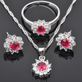 Classic Style Red Cubic Zircon Silver Jewelry Sets For Women Earrings/Pendant/Necklace/Rings  Free Shipping  JS0154