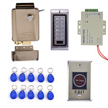 Metal No Touch Door Switch Button+125KHZ Metal Case Keypad Door Access Control Security System Kit+Power Supply
