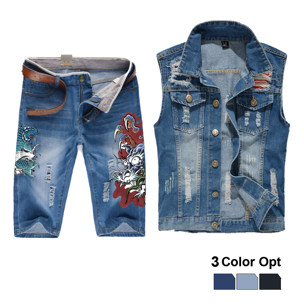 Men Jean Vest Jacket Set Retro Ripped Destroyed Skinny Hole Top Denim Short Pants 1/2 Trousers Summer Beach Wear Blue Fish