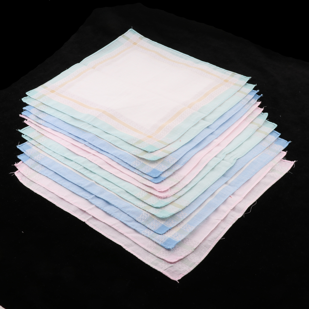 12/pack Men Women Plaid Cotton Pocket Handkerchief Pocket Square Hanky