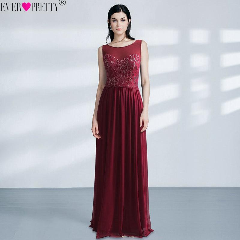 Burgundy Long   Prom     Dresses   Ever Pretty Elegant Lace O-Neck Chiffon Sleeveless Formal Party Gowns vestido largo de fiesta 2018