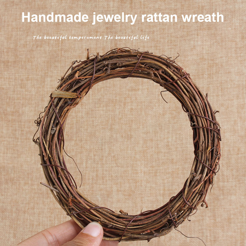 Retro Christmas Wreath Hang Natural Garland Dried Rattan Xmas Home Wall Decor DTT88