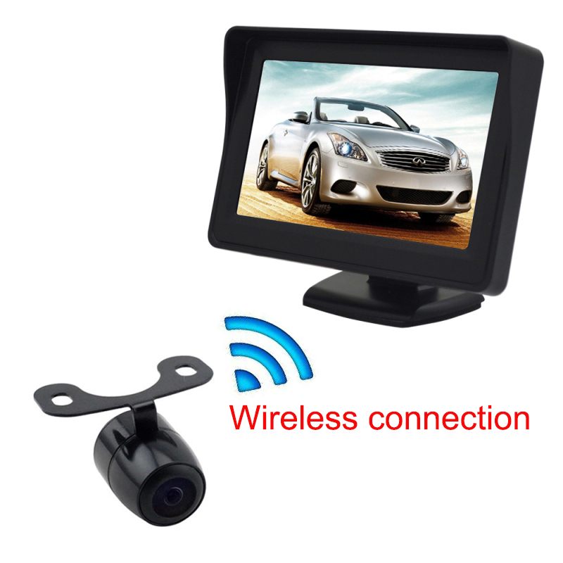2.4GHz wireless visible parking sensor 4.3 inch monitor with rear view camera visual video reversing radar free shipping