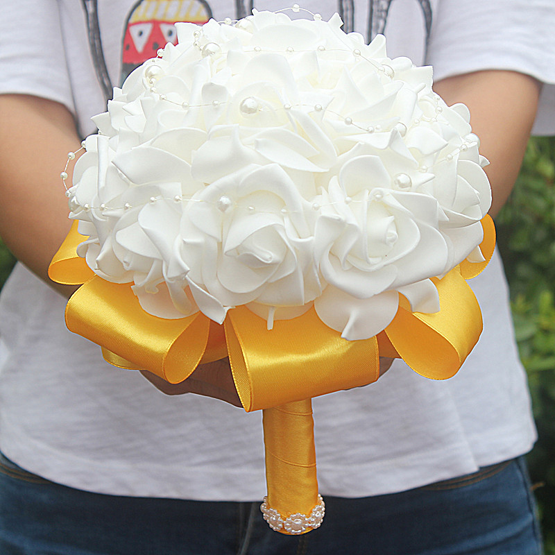 Factory PRICE Cheapest PE Rose Flower with Pearl For Wedding Flower Silk Ribbon Bride Bouquet Hand Hold Flowers On Sale W2017P-1