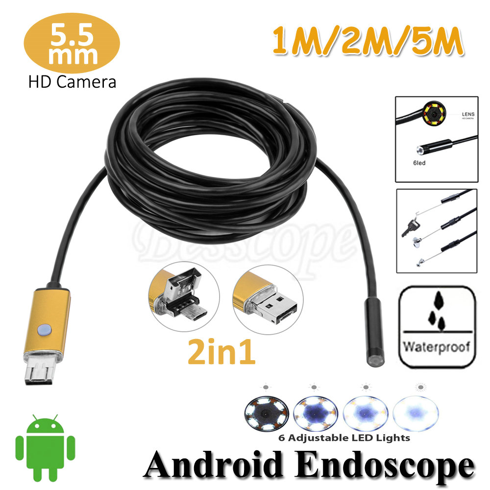 5.5mm Lens 2in1 Android OTG USB Endoscope Camera 1M 2M 5M Flexible Snake USB Pipe Detection Android PC OTG USB Borescope Camera headset bullet usb otg compatible android smartphones digital camera