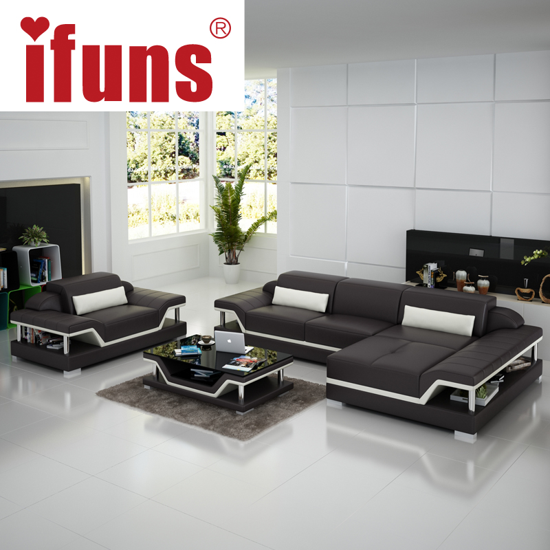 IFUNS Salon Furniture Manufacturer,modern Design Living Roomleather Sofa  Set,top Grain Italian Blacku0026brownu0026whiteu0026orangeu0026leather In Living Room Sofas  From ...