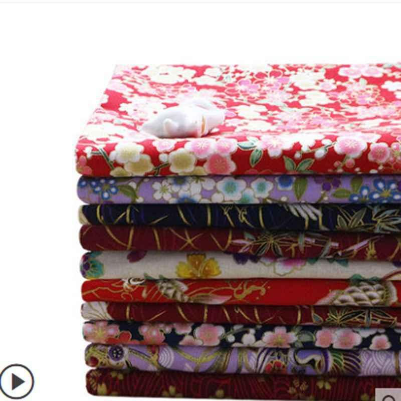 45*45 Cm 45*145 Cm Brons Katoen Stof Japanse Bloem Patroon Stof Voor Diy Patchwork En Vrouw jurk Cheongsam TJ8692