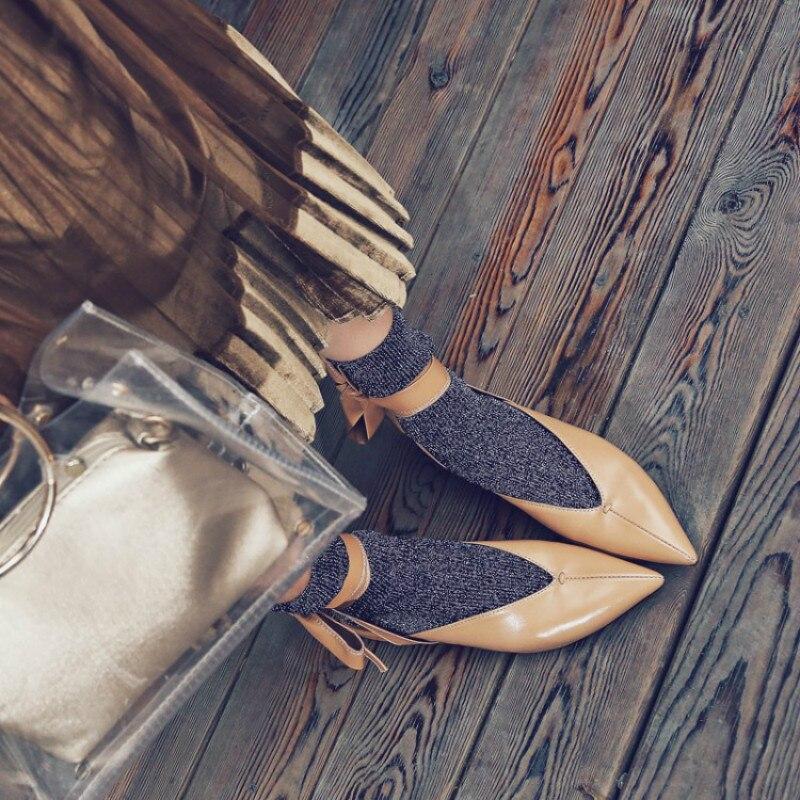 Pointu Top En Sangle Peu Profonde L'europe États Cuir Et 2019 rouge Printemps Low Noir kaki Nouvelles Femmes Les Sandales Yasilaiya Chaussures De unis Étoiles tsdxhrBQC
