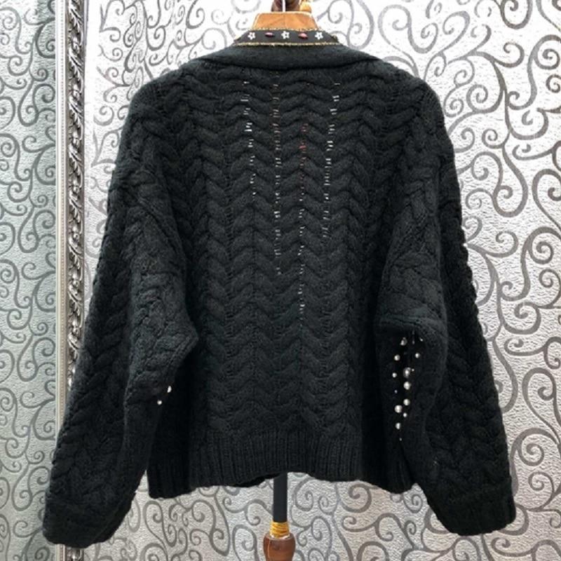 2019 automne mode chandail Cardigans femmes perle perles à manches longues tricoté Cardigan veste dames décontracté hauts manteau Outwear - 2