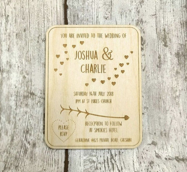 personalized wooden wedding invit wedding invitations cutting