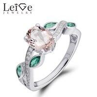 Leige Biżuteria Różowy Pierścień Oval Cut Morganite 925 Srebrny Zaręczynowy Obietnica Krążki dla Kobiet Rocznica Prezent Biżuterii
