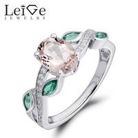 Leige Jewelry Pink Morganite Ring Oval Cut 925 Sterling Silver Engagement Promise Rings for Women Anniversary Gift Fine Jewelry