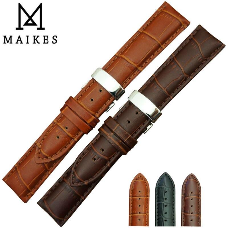 MAIKES Großhandelspreis 14mm-24mm Echtleder Uhrenarmband Armband Butterfly Buckle Black Uhrenarmbänder Für Daniel Wellington