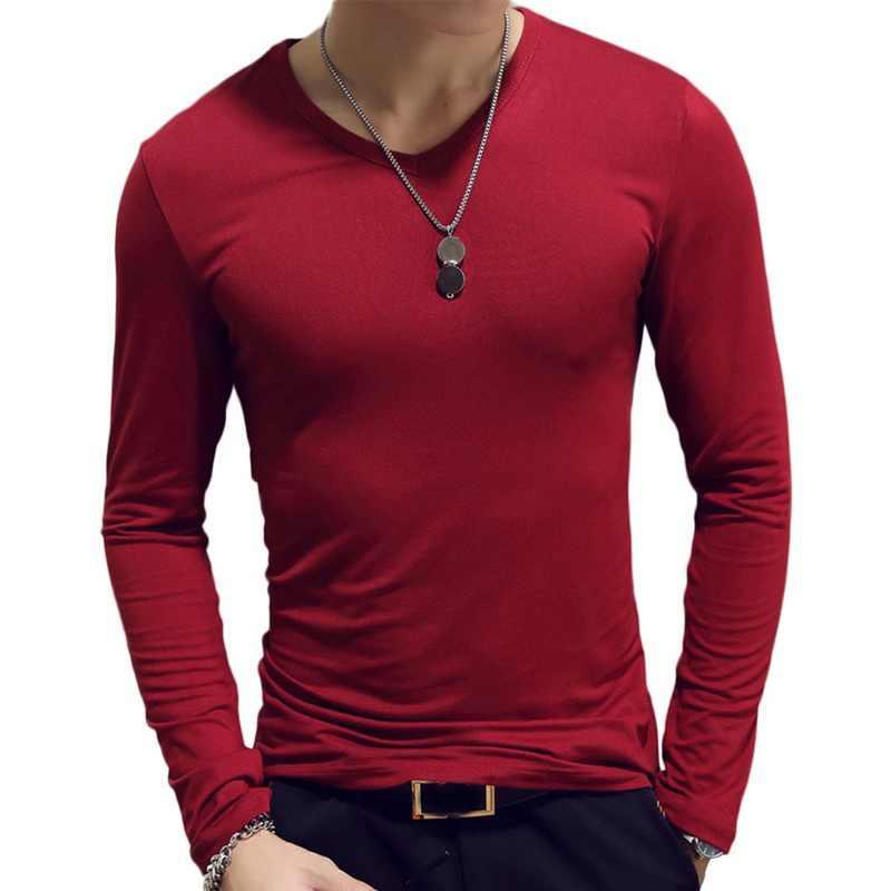 2019 סתיו גברים חולצות ארוך שרוול O-צוואר מזדמן כושר ריצה מוצק אופנה טי בסיסית ריצה Homme למעלה בגדים
