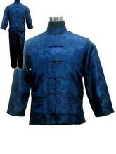 شحن مجاني! أطقم بيجامات من الساتان والبوليستر للرجال باللون الأزرق الداكن سترات بناطيل ملابس نوم مقاس S M L XL XXL XXXL M3020