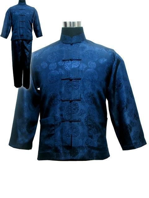 Free shipping Navy blue Men s Polyester Satin Pajama Sets jacket Trousers Sleepwear Nightwear SIZE S