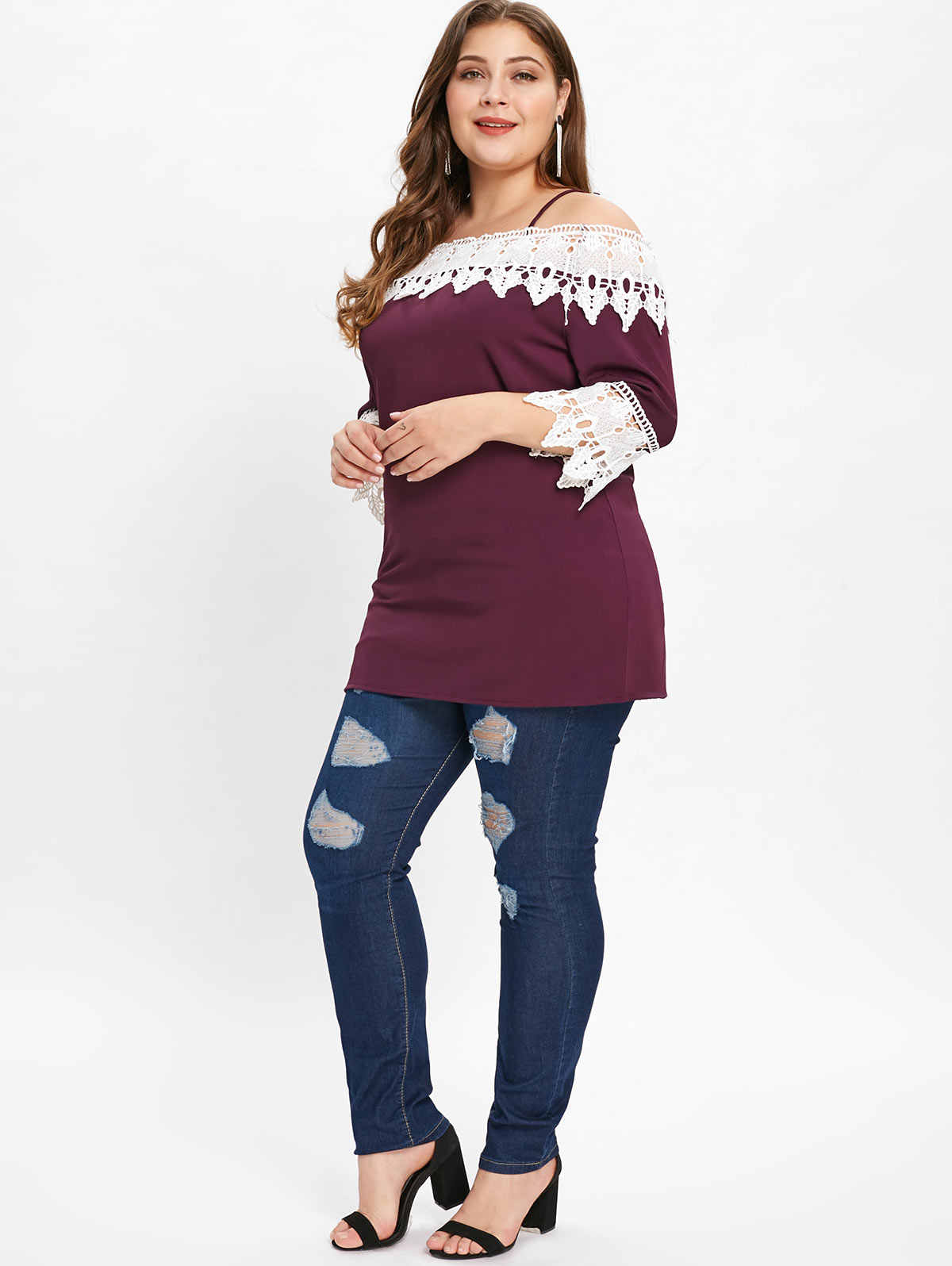 Wisalo плюс размер кружевная панель Спагетти ремень холодное плечо футболка три четверти рукав Лоскутная Повседневная футболка Женская Осенняя футболка 4XL