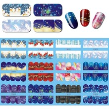 цены 1sheet Water Transfer Nail Art Sticker Winter Christmas Snow RED/BlUE Background Manicure DIY Decal New Design Nails Tips Wraps