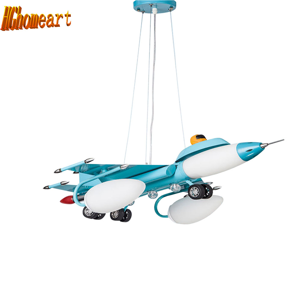 LED pendant lights cartoon airplane Lighting for Children room Kids boy Bedrooom artistic Stainless Steel Hanging Lamp hghomeart kids led pendant lights basketball academy lights cartoon children s room bedroom lamps lighting