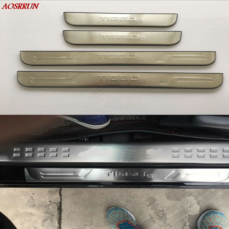 For Chery Tiggo <font><b>5</b></font> 2014 2015 2016 Stainless Steel Door Sill Strip Welcome Pedal Trim Auto Car Styling Stickers Accessories 4pcs image