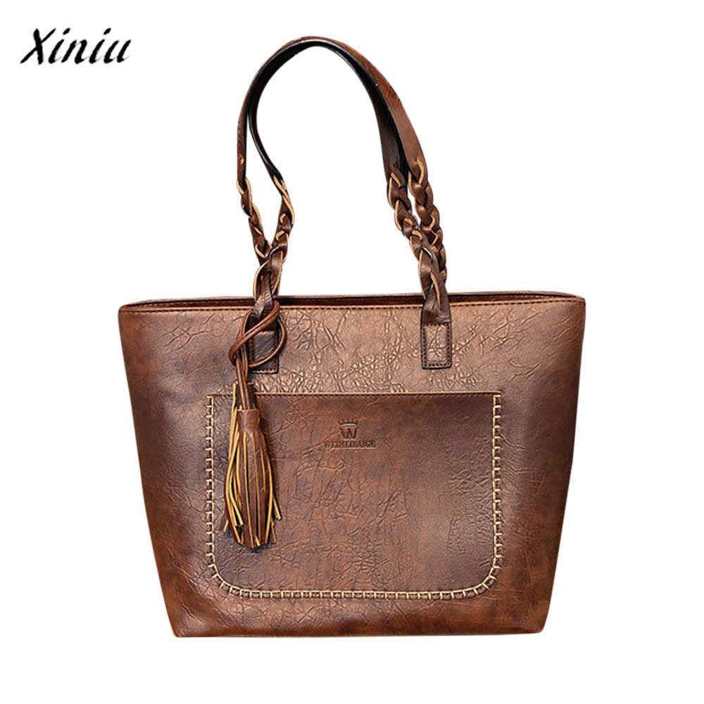 Frauen Leder Quasten Handtasche Schulter Umhängetasche Damen Satchel Tote Taschen @ 9220