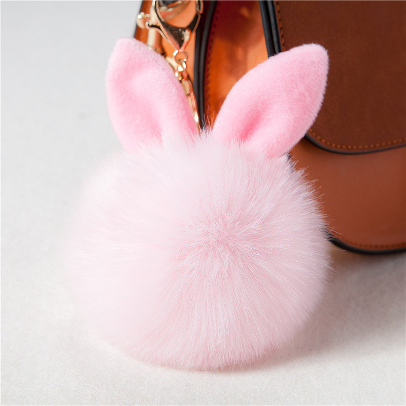 ZOEBER Cute Bunny Pom Pom KeyChain Bag Charms Jewelry Rabbit Fur Ball Key Chain Porte Clef Pompom de fourrure Pompon Women pom pom ball applique rabbit print pullover