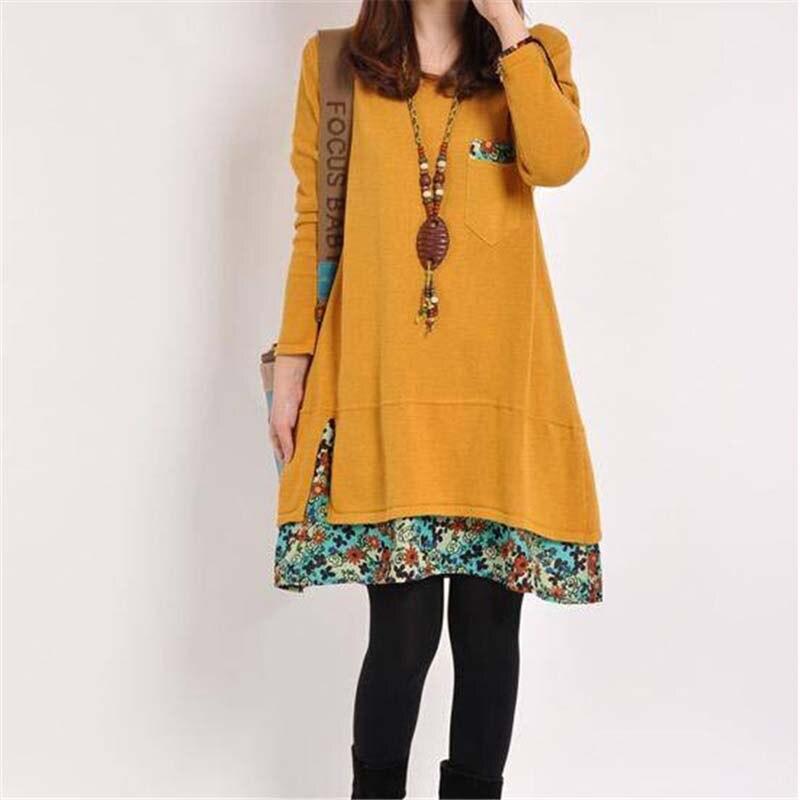 New Autumn Women Long Sleeve Dresses Winter Casual Print Floral Patchwork Pocket O neck Loose Solid Mini Dress Plus 4XL Vestidos