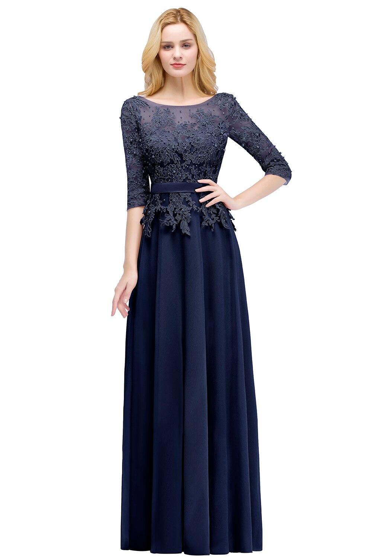 Elegant Pink Navy Blue Chiffon A-Line 3/4 Sleeve Long Bridesmaid Dress 3