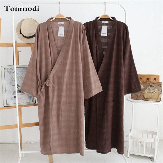 Gowns For Men Kimono Robe Bathrobes Cotton Linen Vintage Gown Men's Sleep & Lounge Robes