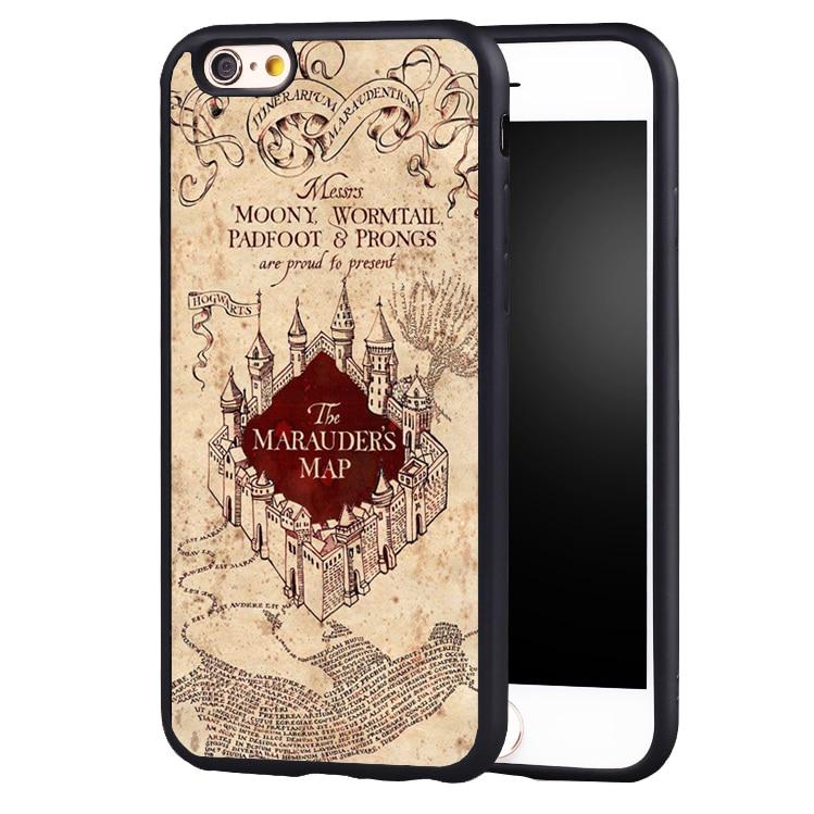 Hot Harry Potter Marauders Carte Motif Imprimé housse de protection En Caoutchouc pour iPhone 5c 5 5S 5se 6 6 plus 6 s 7 7 plus