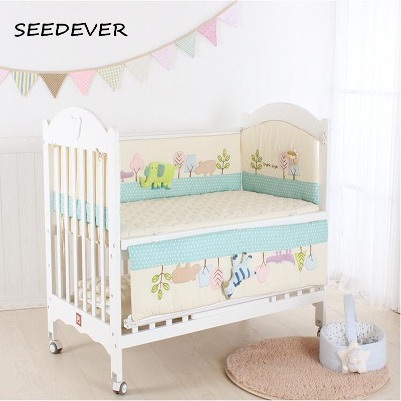 5pcs Baby bedding set baby bed bumpers cot fitted sheet 3D ainimal elephant zebra crib bumper