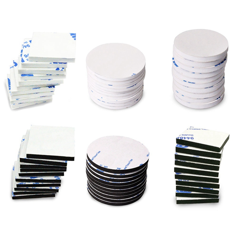 HAPPY FINDING Double Sided Sticky Pads 60 PCS Self-Adhesive Foam Pads Strong Mounting Pads Round and Square Black