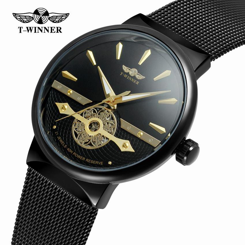 Relogio Masculino De Luxo Mesh Strap Watch Mens Watchs Top Brand Luxury Watch Men Thin Fashion Clock Men Mechanical Wristwatches