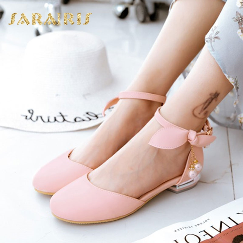 Sarairis Cute Bow Tie Knot Low Chunky Heels Round Toe Summer Party Wedding Causal Young Girl Shoes Woman Sandal Large Size 32-44