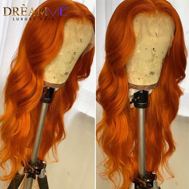 Colored Human Hair Wig Orange Body Wave Lace Front Wig PrePlucked With Baby Hair Remy Lace