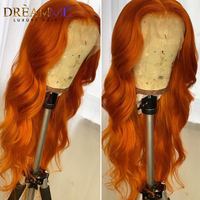 Colored Human Hair Wig Orange Body Wave Lace Front Wig PrePlucked With Baby Hair Remy Lace Front Human Hair Wig For Black Women