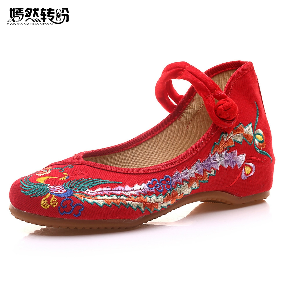 Chinese Women Flats Shoes Phoenix Embroidered Ballet Flat Old Beijing Mary Jane Canvas Casual Cloth Shoes Woman Plus Size 43 peacock embroidery women shoes old peking mary jane flat heel denim flats soft sole women dance casual shoes height increase
