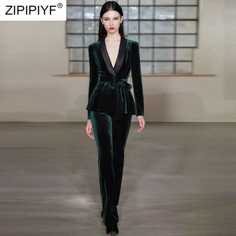 2018 Высокое качество Мода v образным вырезом Женщины Штаны костюмы комплект осень Формальные Длинные рукава блейзер и длинные штаны костюм