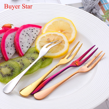 4pcs Fruit Forks 304 Stainless Steel Salad Fork Golden Cutlery Set Metel Cake Gold Snail dessert fork