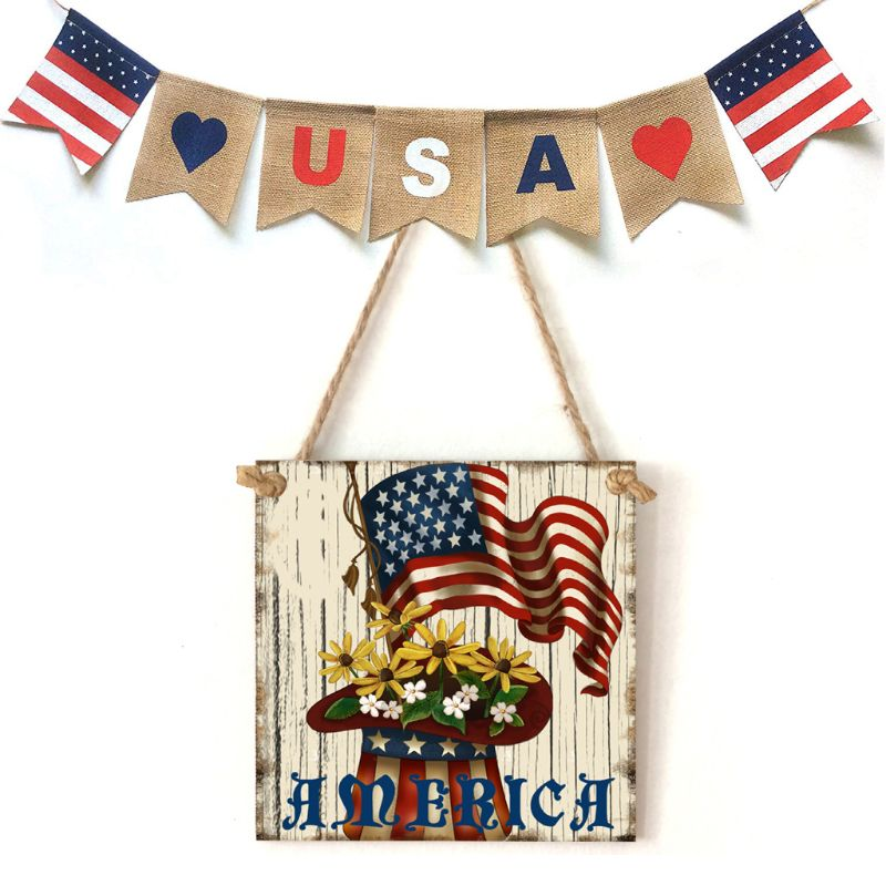 Image 5 - Vintage Wooden Hanging Plaque America Sign Board Wall Door Home Decoration Independence Day Party Gift-in Plaques & Signs from Home & Garden