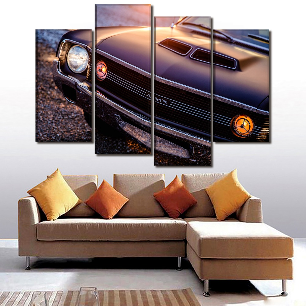 Modern Canvas Picture Wall Art HD Print Poster 4 Piece/1Pcs 1970 Amc Amx Old-Fashioned Car Painting Home Decor Bedroom Framework ...