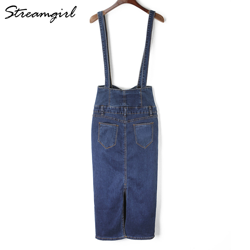 Clearance SaleStreamgirl Denim Skirt Straps Button Long High-Waist Plus-Size Womens Pencil with Jeans